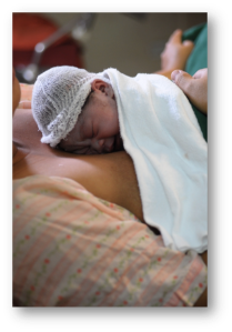 Immediate skin-to-skin contact.  Photo courtesy of the Essential Intrapartum and Newborn Care Team.